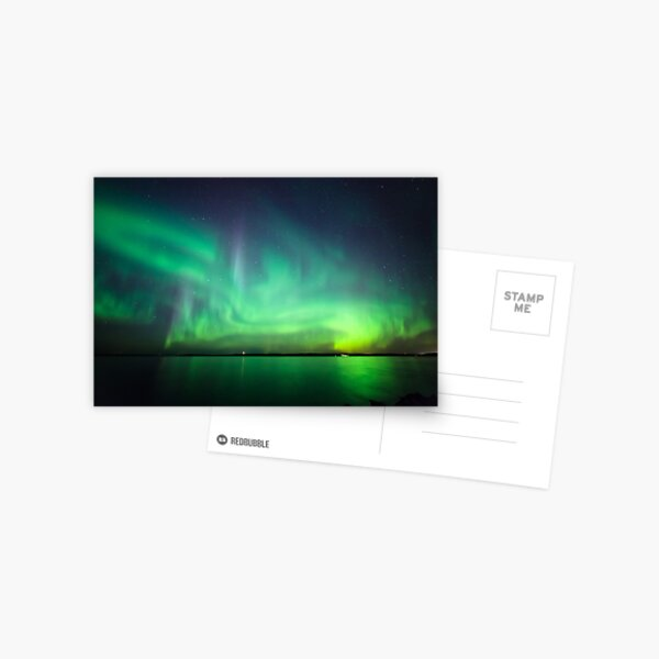 Northern lights over lake Postcard