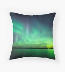 Northern lights over lake Throw Pillow