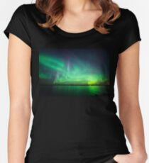 Northern lights over lake Fitted Scoop T-Shirt