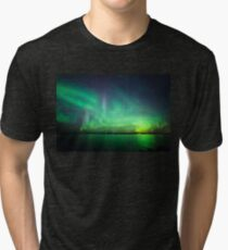 Northern lights over lake Tri-blend T-Shirt