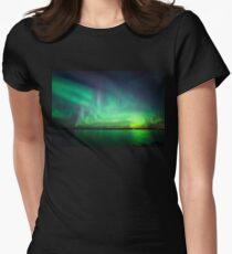 Northern lights over lake Women's Fitted T-Shirt
