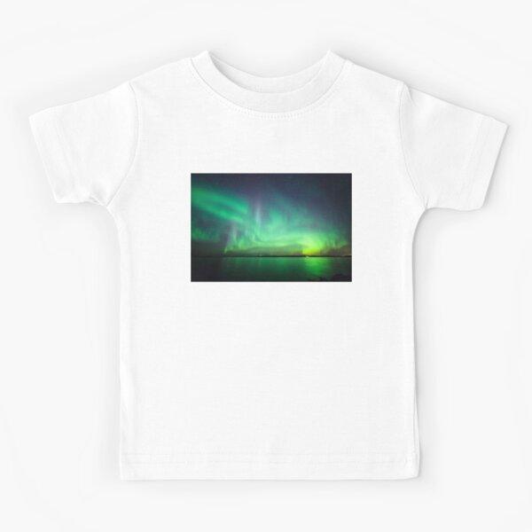 Northern lights over lake Kids T-Shirt