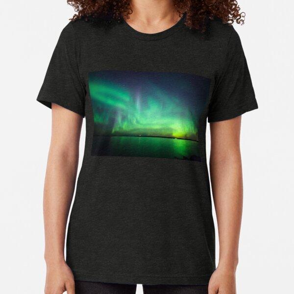 Northern lights over lake Tri-blend T-Shirt