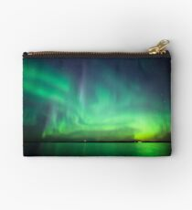 Northern lights over lake Studio Pouch