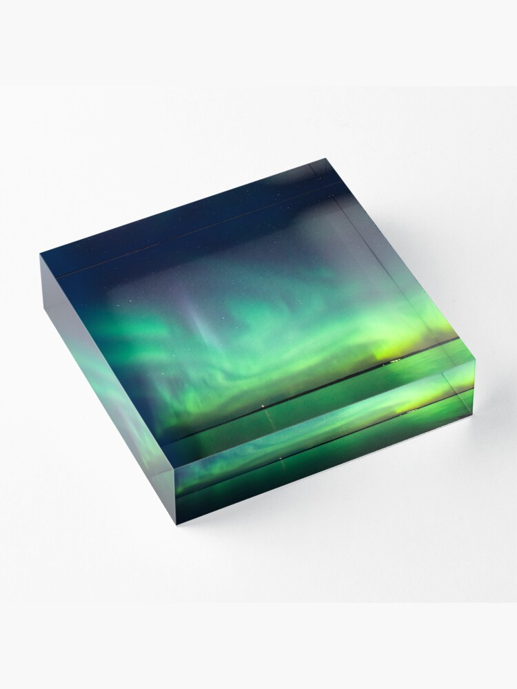 Alternate view of Northern lights over lake Acrylic Block