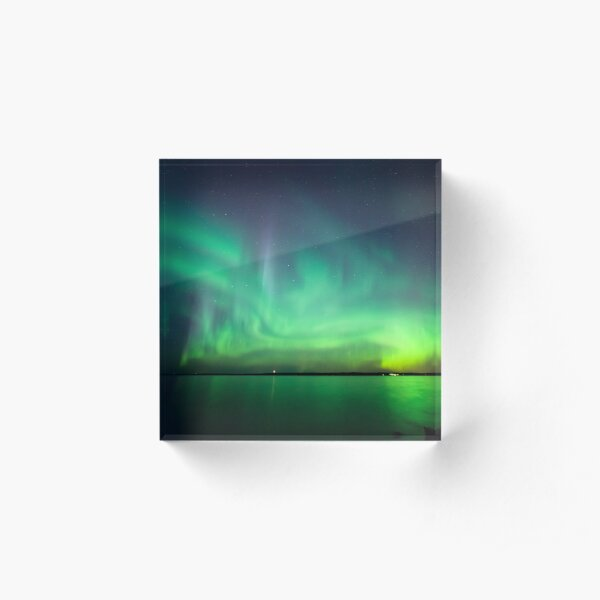 Northern lights over lake Acrylic Block