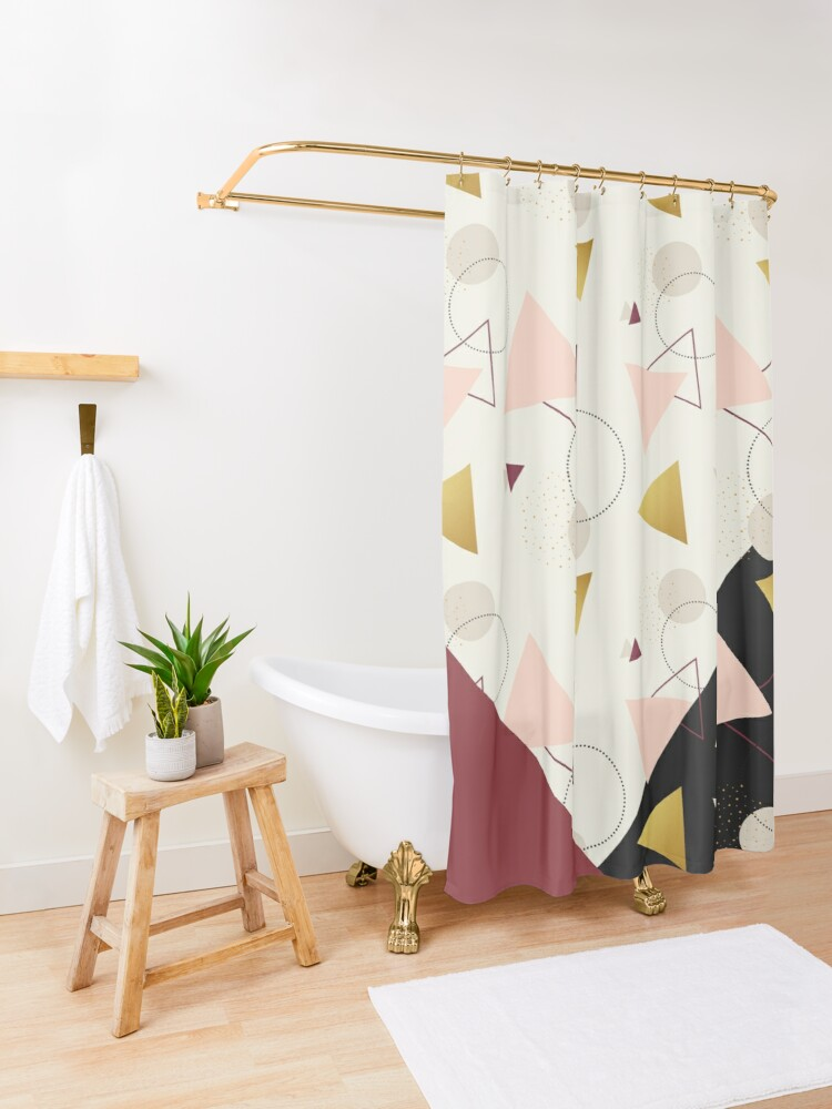 Alternate view of Triangles Mix #redbubble #decor #buyart Shower Curtain