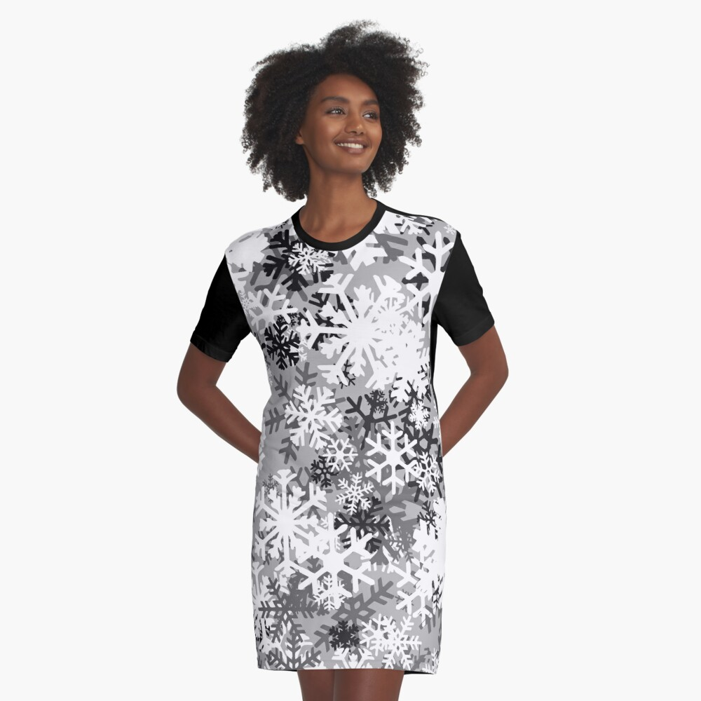 Snowflake Camo Graphic T-Shirt Dress