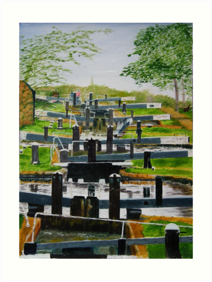 Looking down Audlem locks from lock No. 8 by Peter Lythgoe