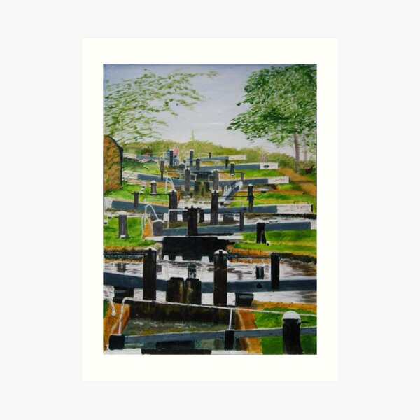 Looking down Audlem locks from lock No. 8 Art Print
