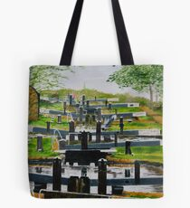 Looking down Audlem locks from lock No. 8 Tote Bag