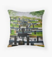Looking down Audlem locks from lock No. 8 Throw Pillow