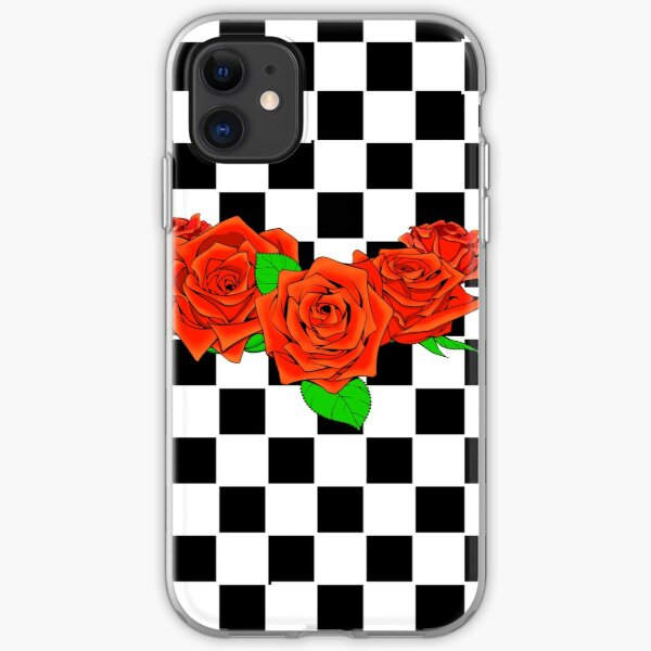 Checkered rose iPhone Soft Case