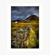 Camasunary Cottage and The Blaven ,Isle of Skye, Scotland. Art Print