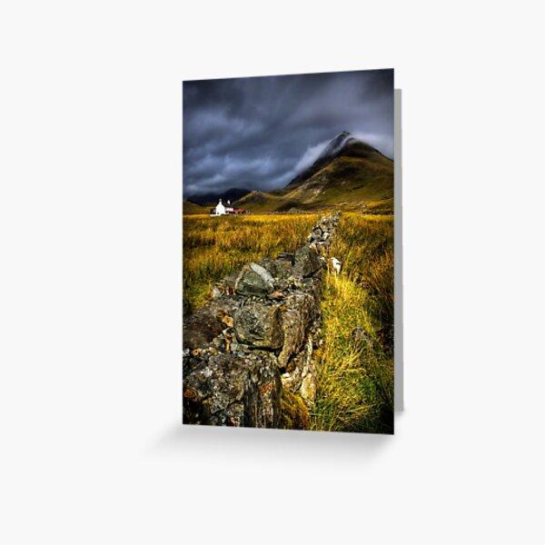 Camasunary Cottage and  Blaven Isle of Skye, Scotland. Greeting Card