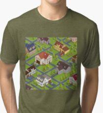 Isometric Cityscape. Isometric Buildings. Isometric Houses. Isometric Cottages. Isometric City. Modern Houses. Isometric Cars.  Tri-blend T-Shirt