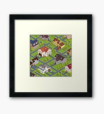 Isometric Cityscape. Isometric Buildings. Isometric Houses. Isometric Cottages. Isometric City. Modern Houses. Isometric Cars.  Framed Print
