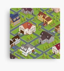 Isometric Cityscape. Isometric Buildings. Isometric Houses. Isometric Cottages. Isometric City. Modern Houses. Isometric Cars.  Canvas Print