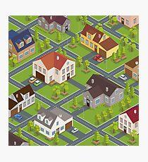 Isometric Cityscape. Isometric Buildings. Isometric Houses. Isometric Cottages. Isometric City. Modern Houses. Isometric Cars.  Photographic Print