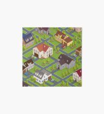 Isometric Cityscape. Isometric Buildings. Isometric Houses. Isometric Cottages. Isometric City. Modern Houses. Isometric Cars.  Art Board