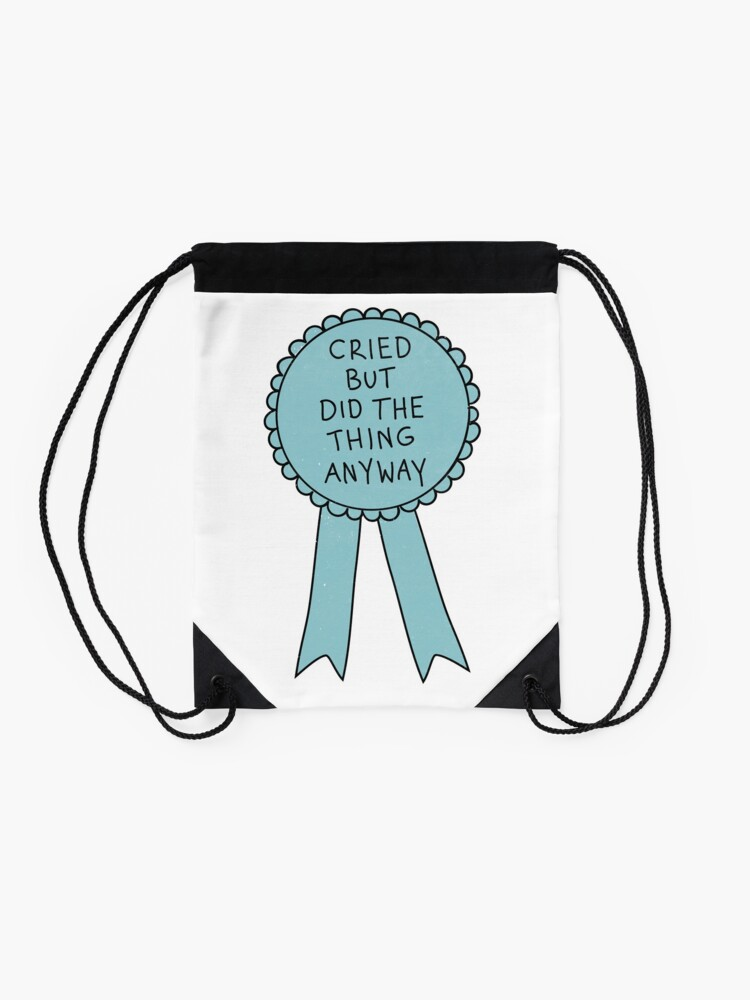 Alternate view of Did The Thing Anyway Drawstring Bag