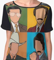 Anchorman - Ron/Brian/Champ/Brick Pop Art Women's Chiffon Top