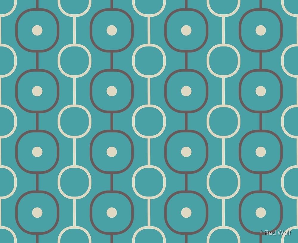 Geometric Pattern: Circle Chain: Aqua/Brown by * Red Wolf