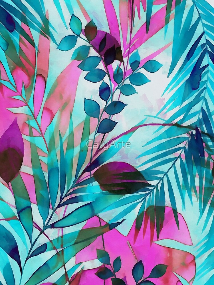 Colorful tropical leaves by CatyArte