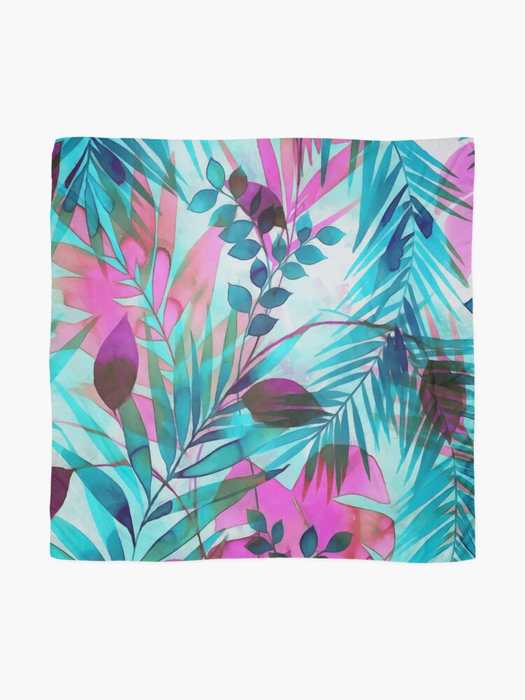 Alternate view of Colorful tropical leaves Scarf