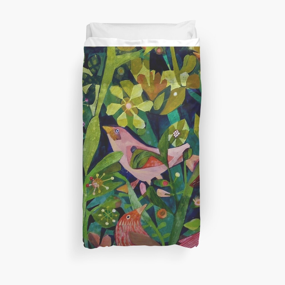 Three pink birds Duvet Cover