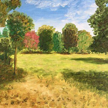 Ecopark in Varna, Bulgaria. Oil on canvas by anatolkin