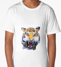 Watercolor Tiger - Tiger portrait, colorful tiger, animal illustration Long T-Shirt