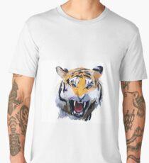 Watercolor Tiger - Tiger portrait, colorful tiger, animal illustration Men's Premium T-Shirt