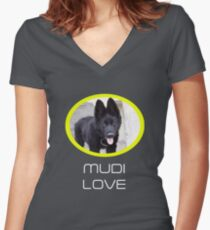 Rare Breed Dog Mudi Women's Fitted V-Neck T-Shirt