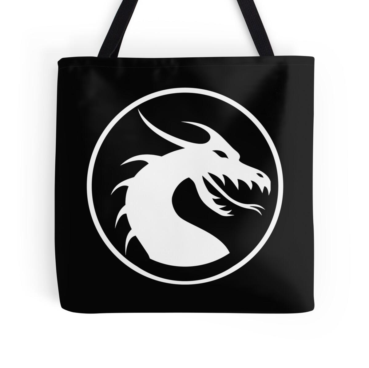 Quot Dragon Head Circle Symbol Logo White On Black Quot Tote
