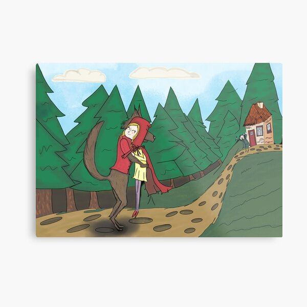Little Red and The Wolf. Metal Print
