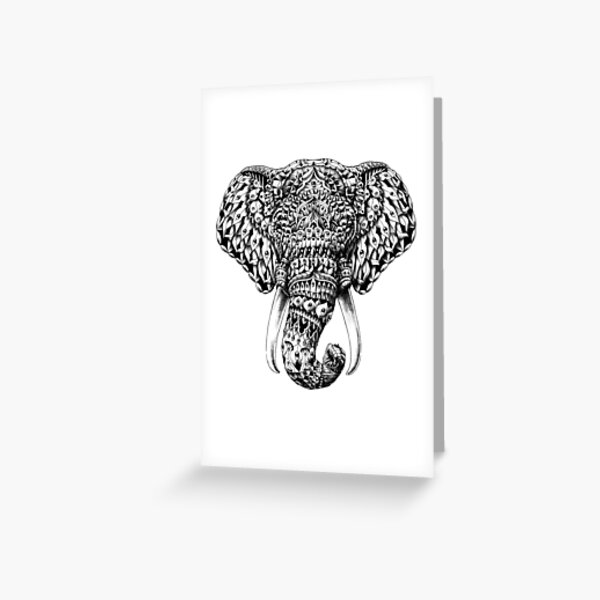 Ornate Elephant Head Greeting Card