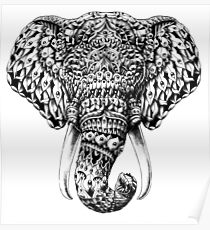 Ornate Elephant Head Poster
