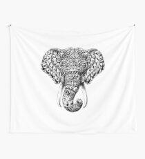 Ornate Elephant Head Wall Tapestry