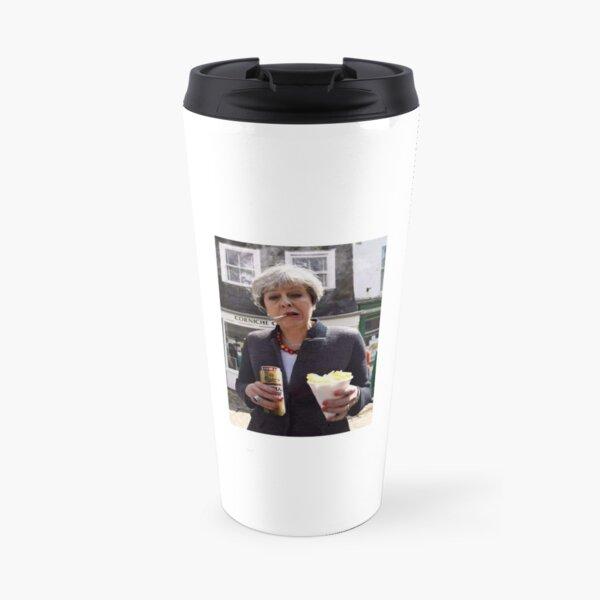 Theresa May in Cornwall with a fag and a tinny Travel Mug