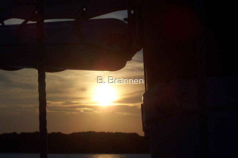 Boat rigging at sunset by B. Brannen