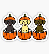 Halloween Labrador Puppies Pumpkins Sticker