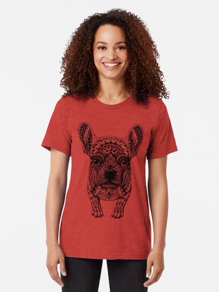 Alternate view of Frenchie (French Bulldog) Tri-blend T-Shirt