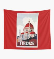 Florence Firenze 1920s Italian travel ad, duomo Wall Tapestry