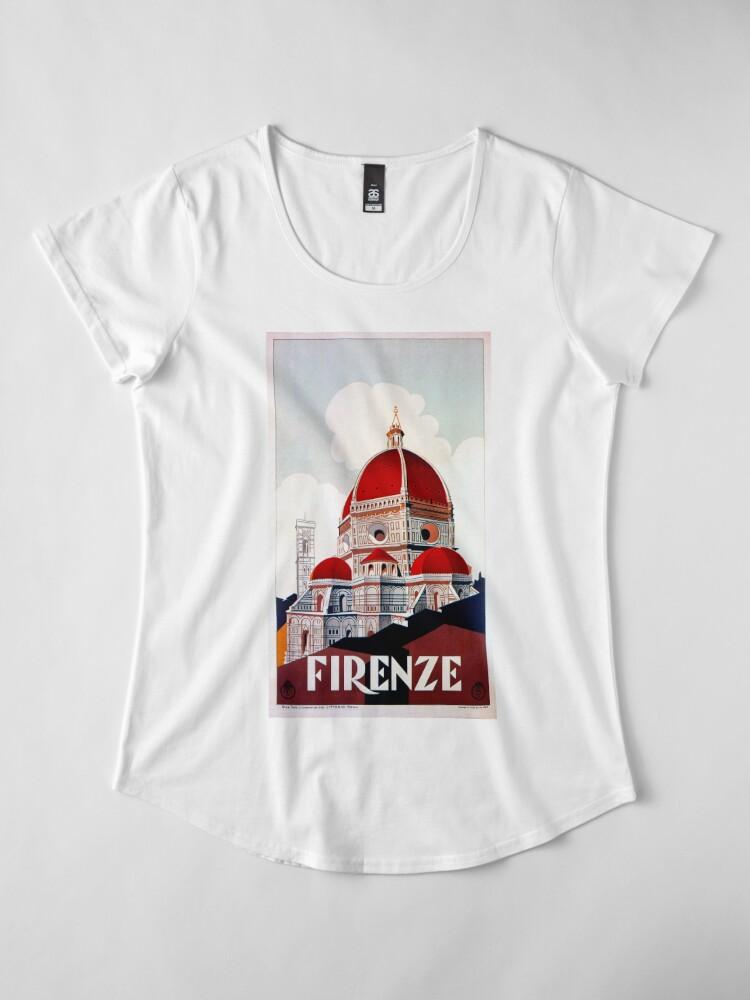 Alternative Ansicht von Florence Firenze 1920er Jahre italienische Reiseanzeige, Duomo Premium Rundhals-Shirt