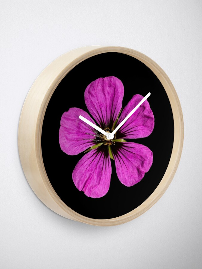 Alternate view of Pink Geranium flower Clock