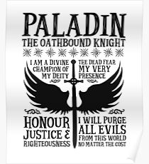 PALADIN, THE OATHBOUND KNIGHT- Dungeons & Dragons (Black) Poster