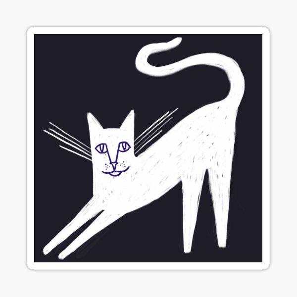 White Cat Stretching Sticker