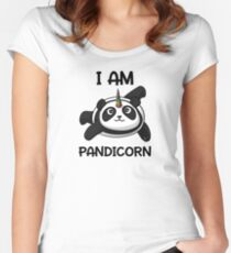 Pandicorn Funny Panda Bear Cartoon Fantasy Rainbow Women's Fitted Scoop T-Shirt