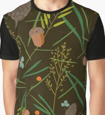 Pattern with the image of the forest cones, fir needles Graphic T-Shirt